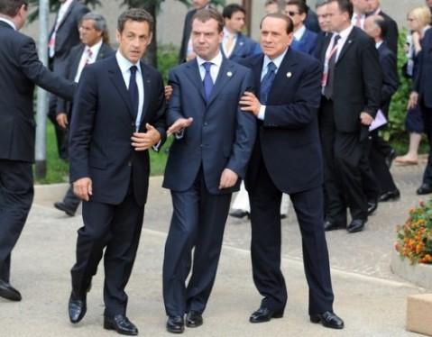Саркози, Медведев и Берлускони.