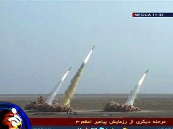 Изтрелването на Шахаб - 3 показано по иранската ТV