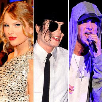Taylor Swift, Michael Jackson and Eminem