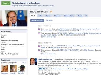Страницата на Берлускони в Facebook.